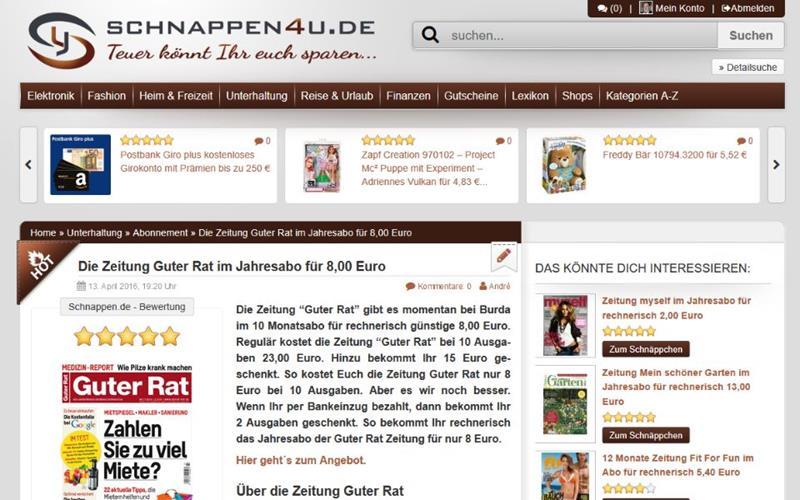 Schnappen4u.de der Schnäppchenblog im Internet