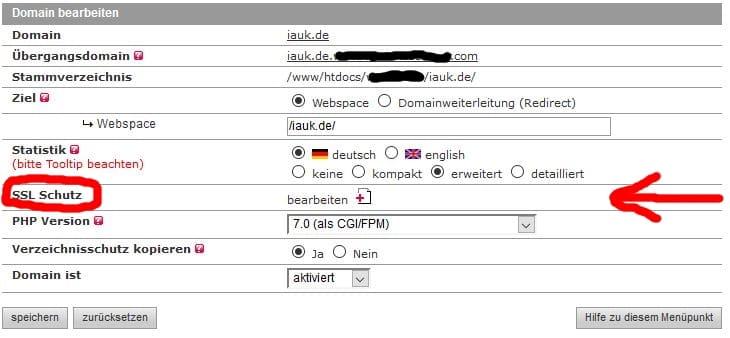 Domain iauk.de bearbeiten bei all-inkl.com