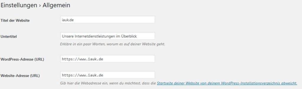 iauk_de Einstellungen https unter WordPress