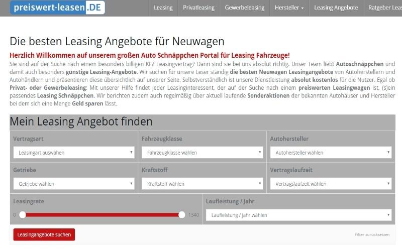 Preiswert-leasen.de - der Marktplatz für Leasingangebote